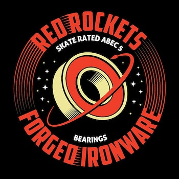 Red Rockets ABEC 5  Skateboard Bearings by Forged Ironware