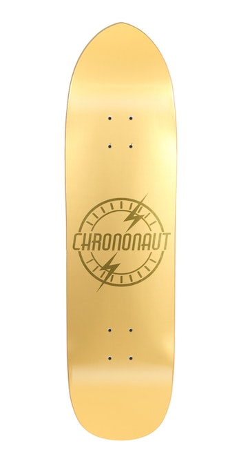 Skateboard Chrononaut Logo Matte Gold fun shape 8,5''