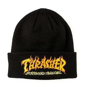 Beanie Thrasher Fire Logo Black