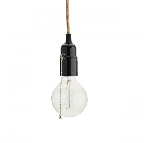 Lamphållare i jute SVART m. kulkedja