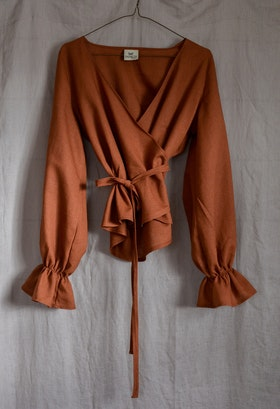 RUFFLE TOP - RUST