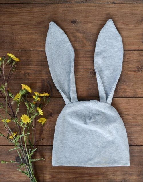 BUNNY BEANIE 1 -2,5 YEARS LIGHT GREY PAPIJJON SWEDEN