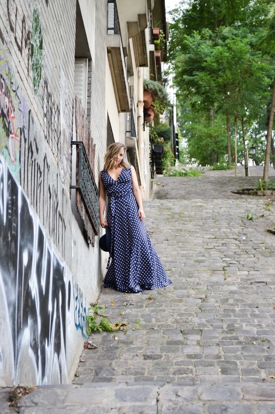 ULTIMATE LONG SKIRT - BLUE WITH WHITE DOTS