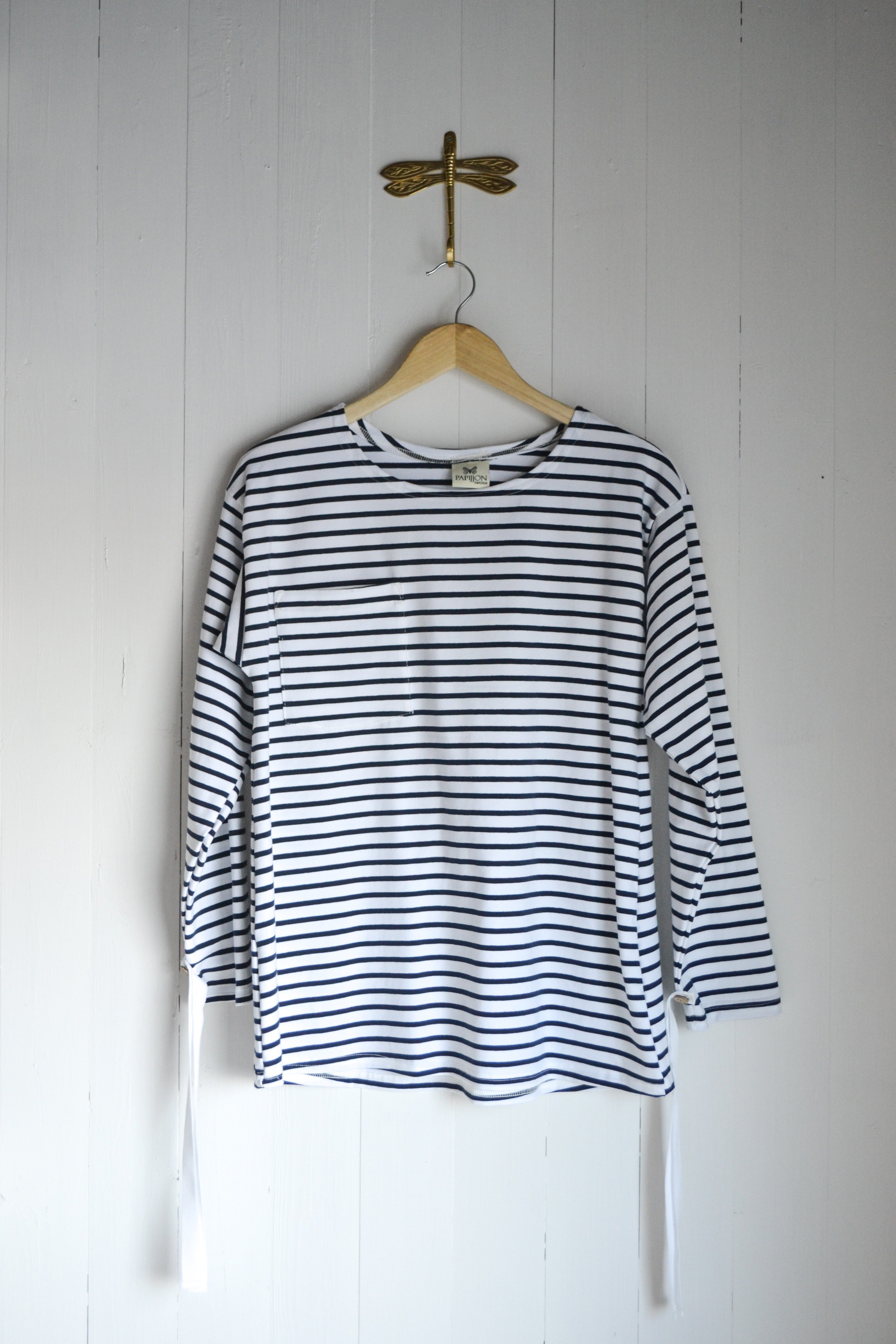 REMOVIBLE LONG SLEEVE TOP - BLUE AND WHITE STRIPES