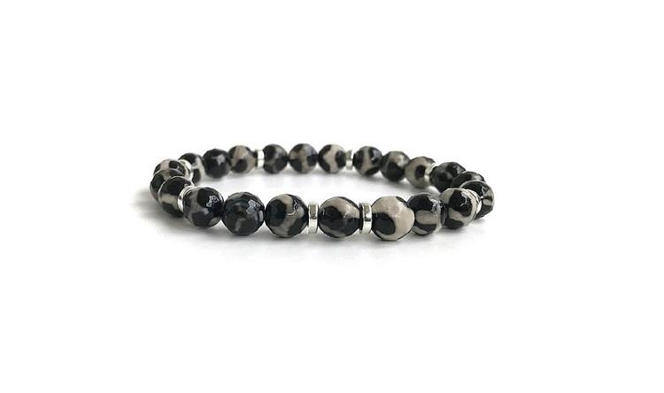 Herrarmband med stenar svarta och grå