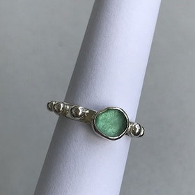 Sjöglas ring 925 silver
