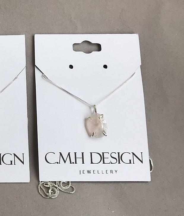 Rosenkvarts halsband i äkta silver