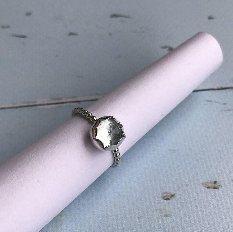 Äkta silverring med sten
