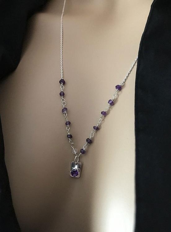 Ametist halsband 925 silver