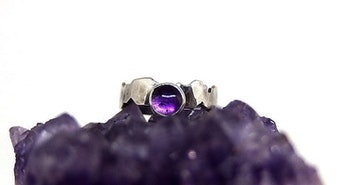 Bred Ametist ring silver