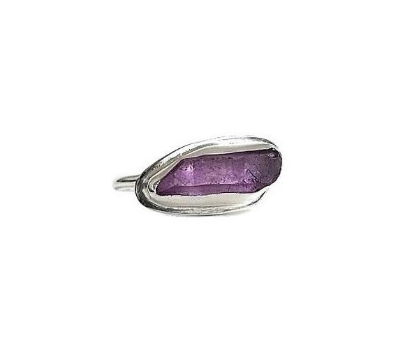 Lila rå bergskristall ring äkta silver
