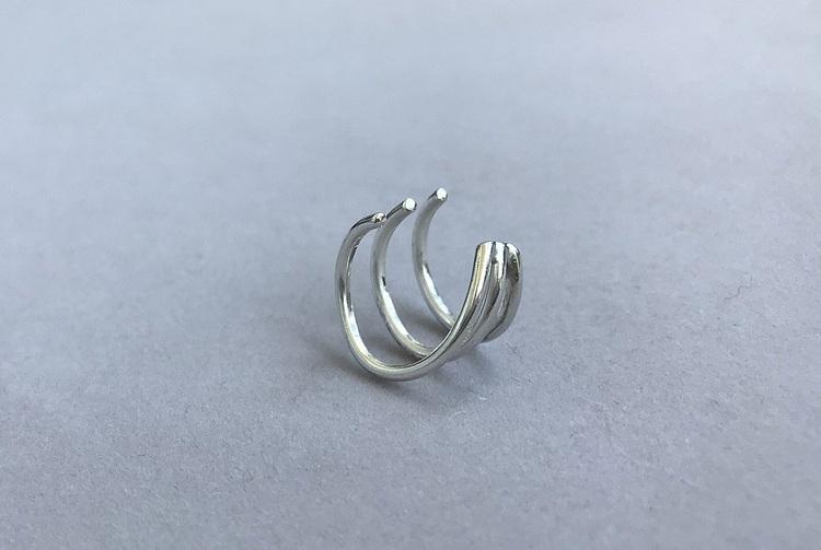 ear cuff örhänge silver brett med tre stycken i ett