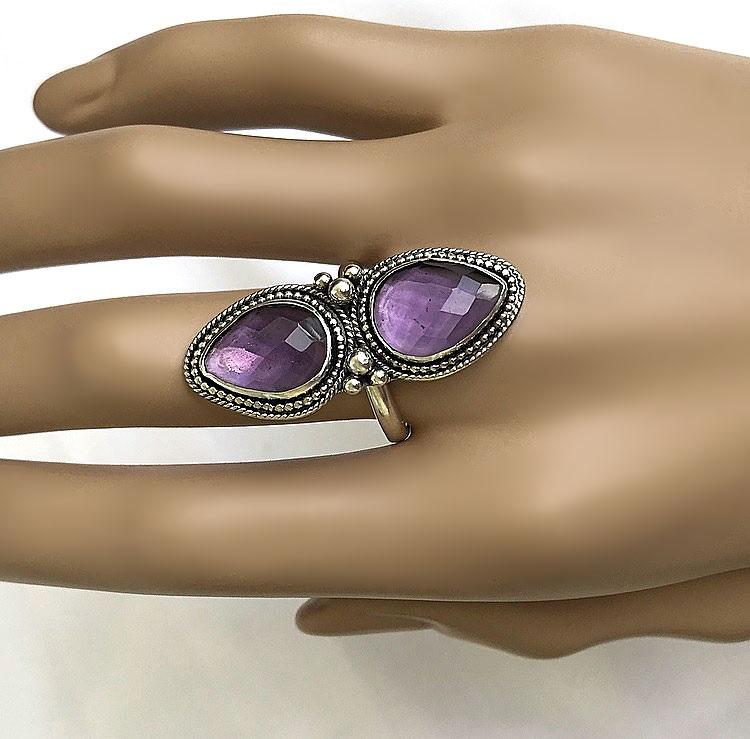 Silverring med ametist stenar stor ring