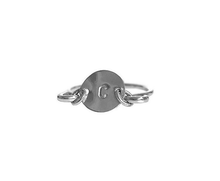 Bokstavsring initial ring äkta silver