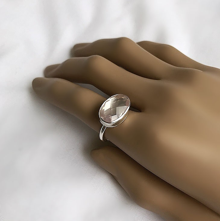 Rosenkvarts ring silver