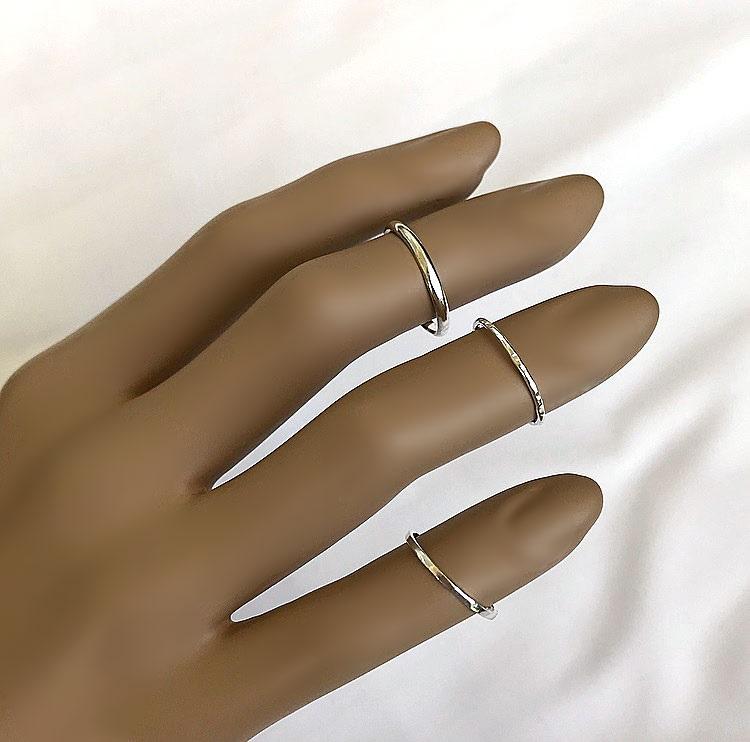 Smala midi ringar i äkta silver