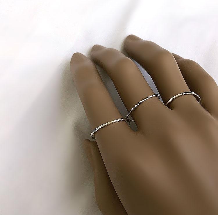 Tunna nätta ringar i 3 pack silver