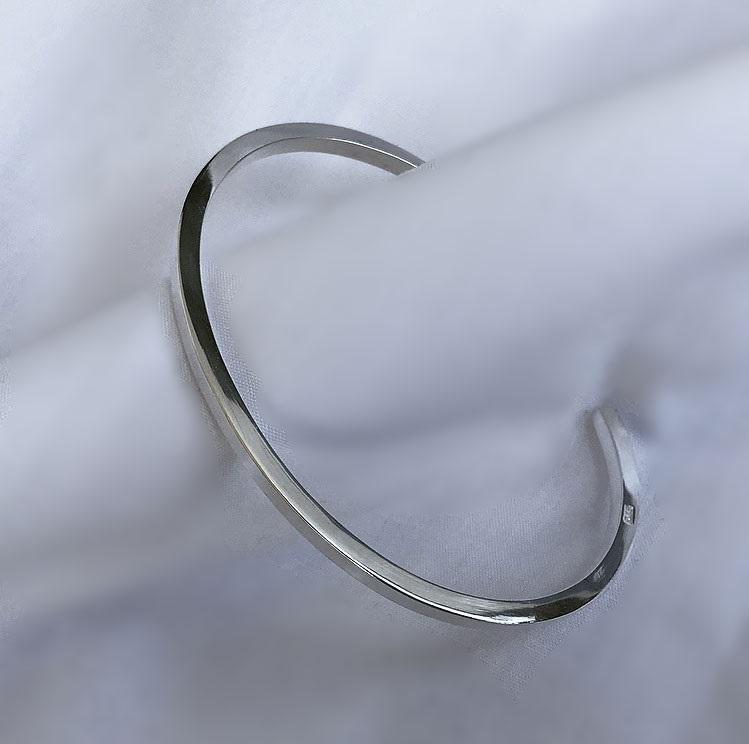 Tjockt cuff armband för män äkta silver