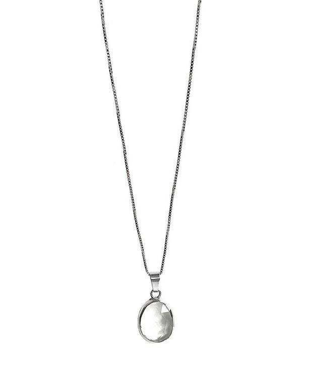 Silverhalsband med klar kvarts kristall sten