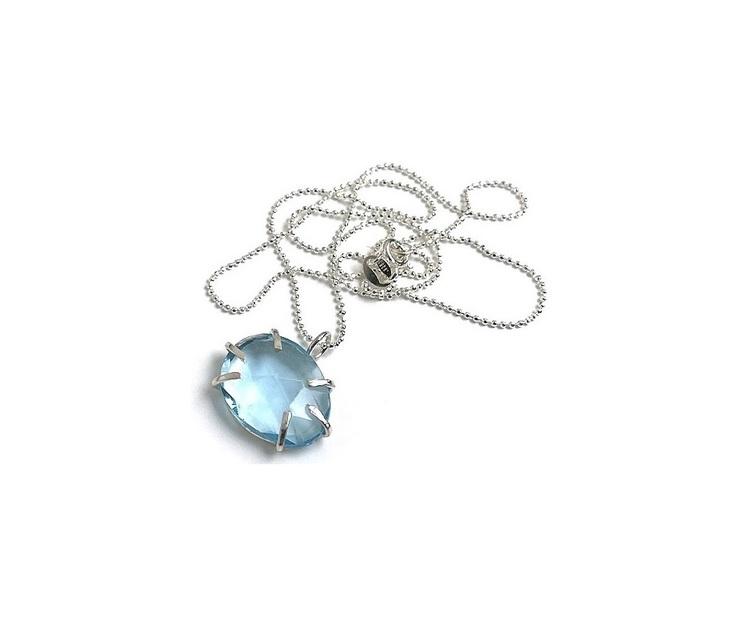 Topas halsband i äkta silver med blå topas sten