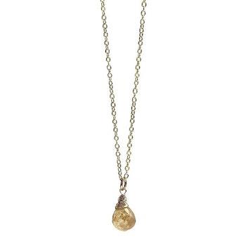 Halsband gul Rutilerad kvarts kristall droppe