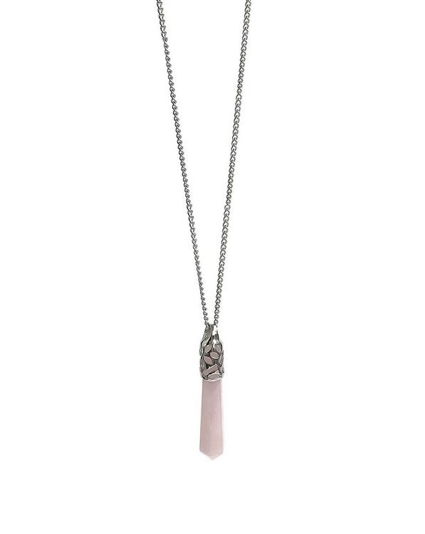 Halsband med rosa hänge rosenkvarts pendel