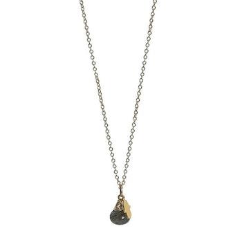 Guldpläterat halsband med Labradorit sten