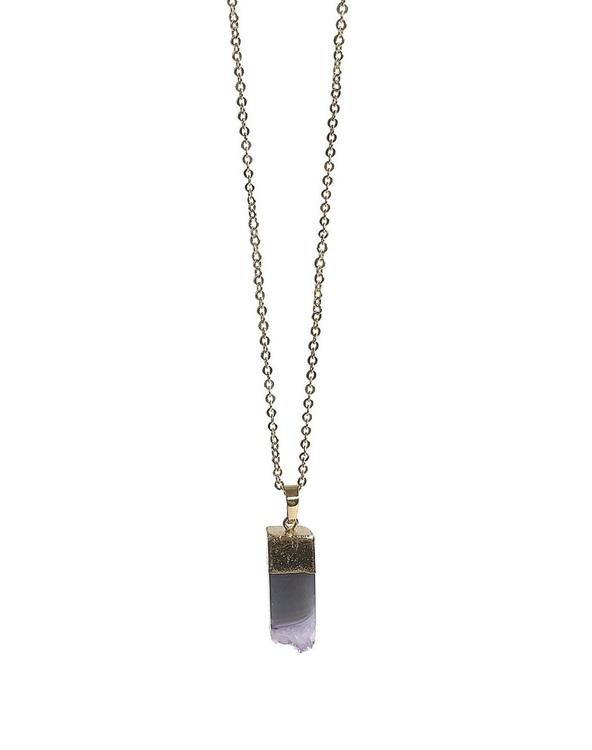 Guldpläterat halsband med ametist sten