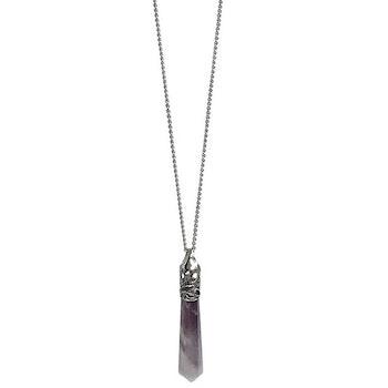 Halsband med lila hänge Ametist
