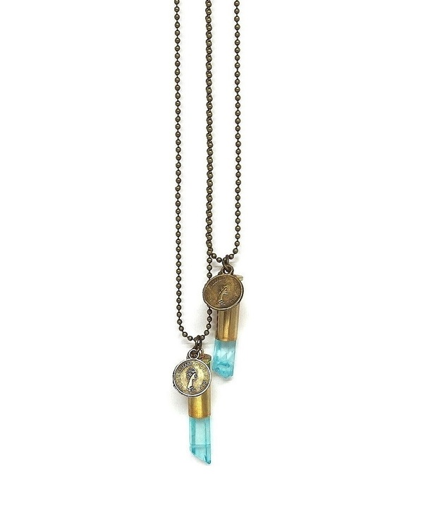 Crystal bullet halsband med turkos rå bergskristall brons