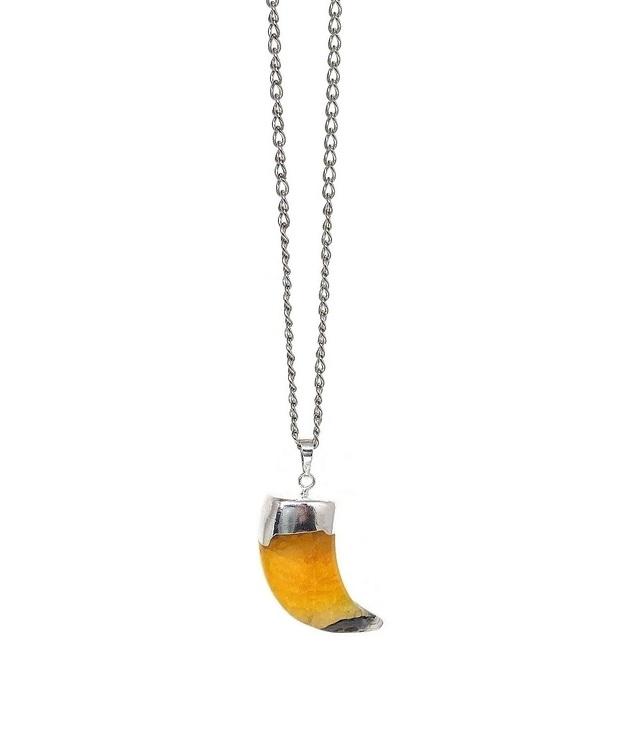 Agat halsband med kedja och stor tandformad sten