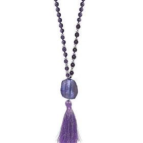 Långt ametist halsband med pärlor