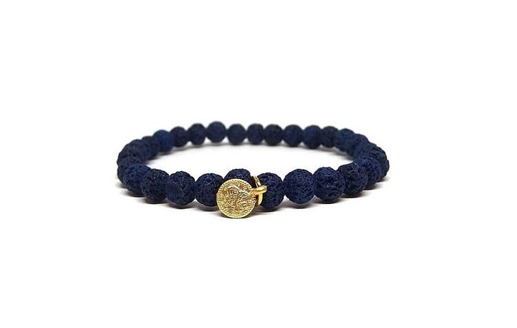 Blått lava armband med berlock