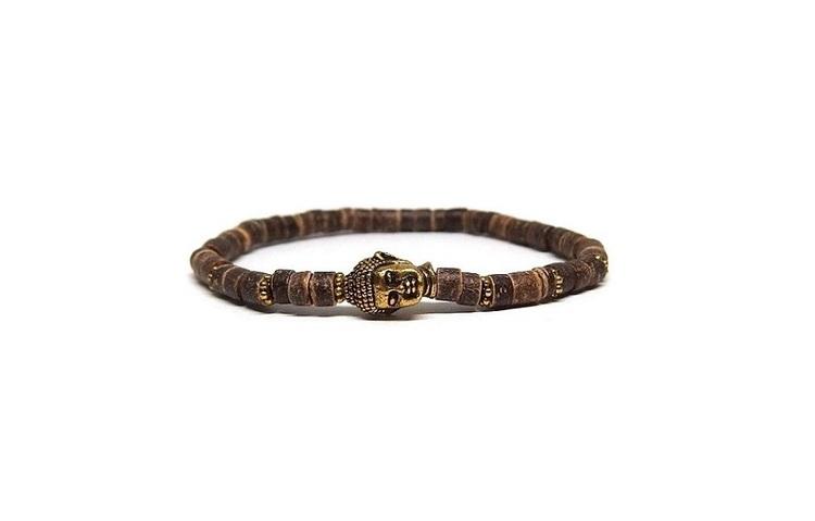 Brunt Buddha armband med kokos pärlor