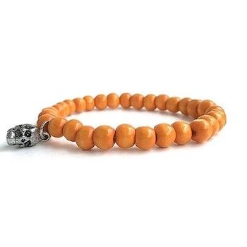 Orange armband i trä herr