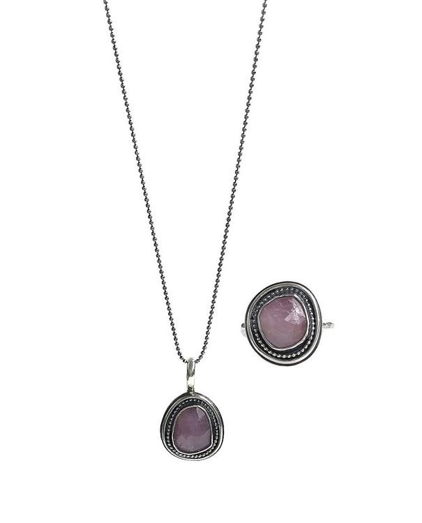 Rosa safir smycken set i äkta silver, halsband och ring.
