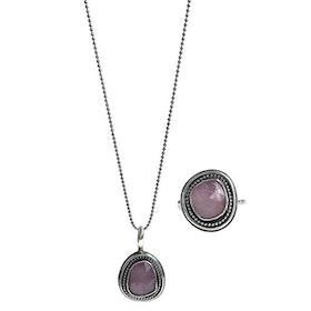 Rosa Safir smycken set