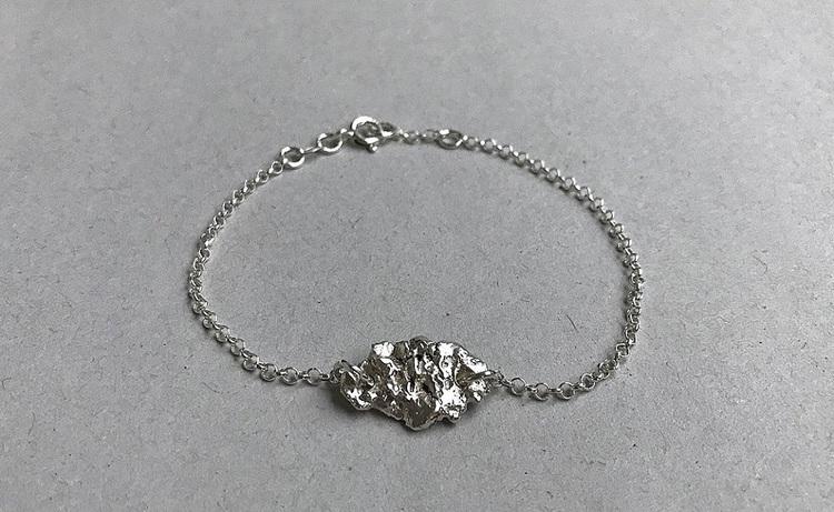 Silverarmband kedja och nugget äkta silver