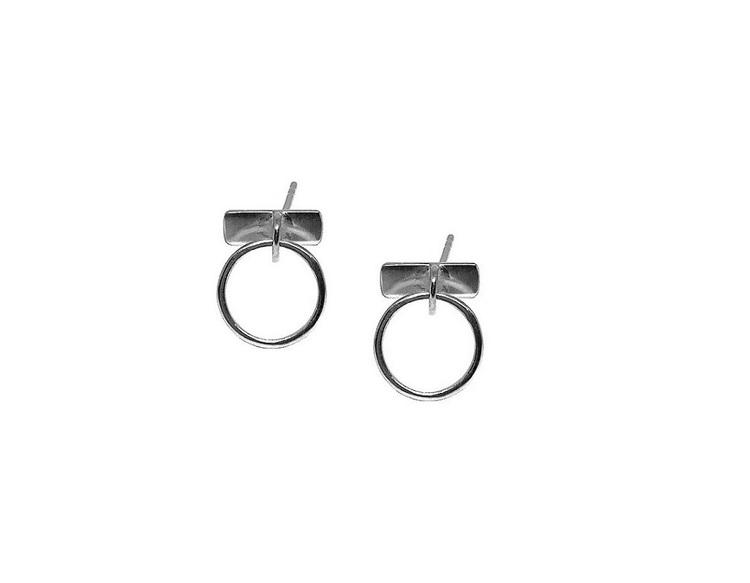 Stiftörhängen små runda ringar silver