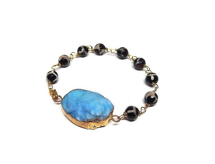 Druzy agat armband svart och blått
