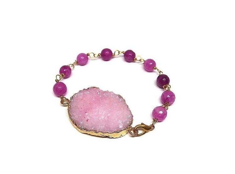Rosa druzy agat armband med pärlor