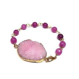 Rosa Druzy Agat armband