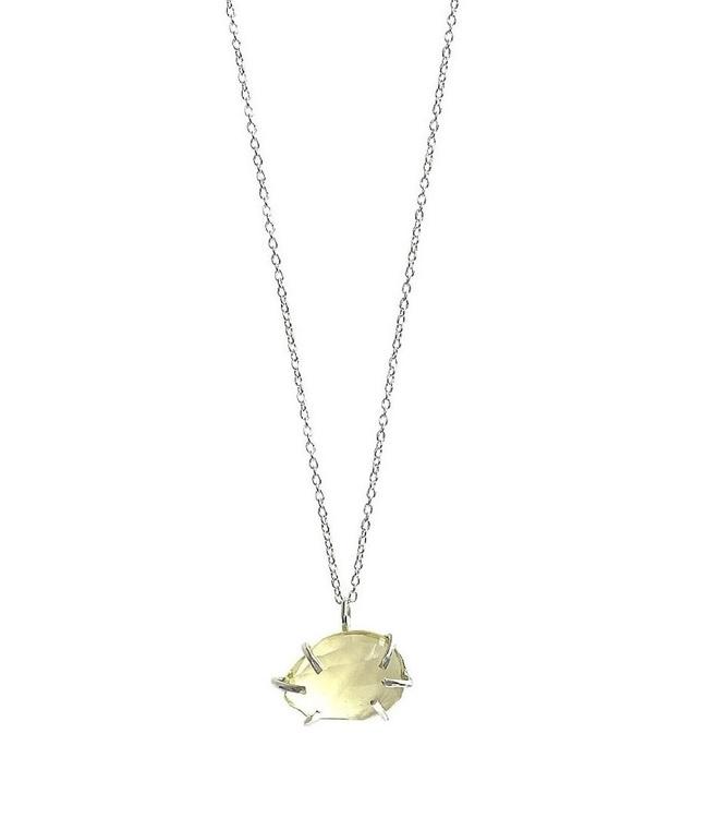Lemon kvarts kristall halsband med kedja i äkta silver