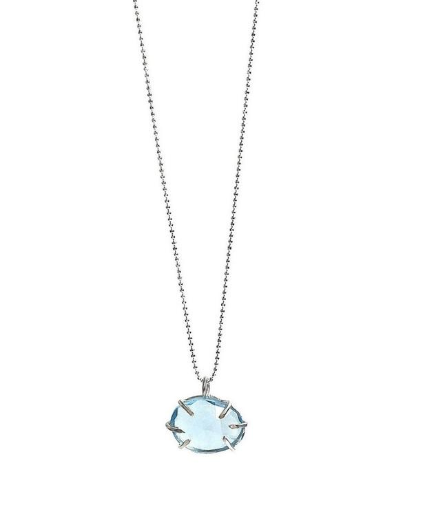 Silverhalsband med blå topas sten i klofattning