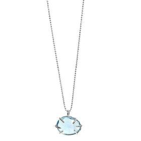Silverhalsband med blå Topas sten