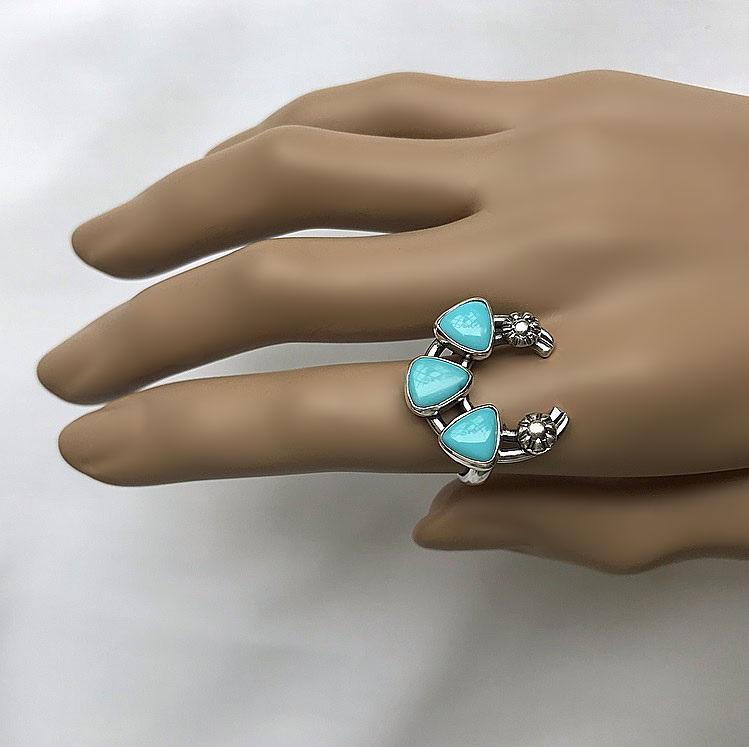 Turkos ring naja, hästsko ring, halvmåne ring silver