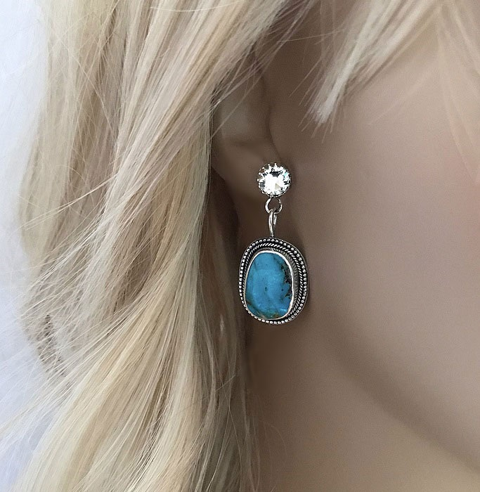 Stora turkos örhängen äkta silver