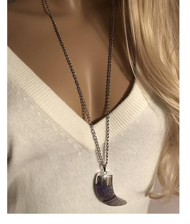Silverpläterat långt ametist halsband