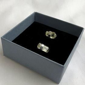 Örhängen gula råa miniraler silver