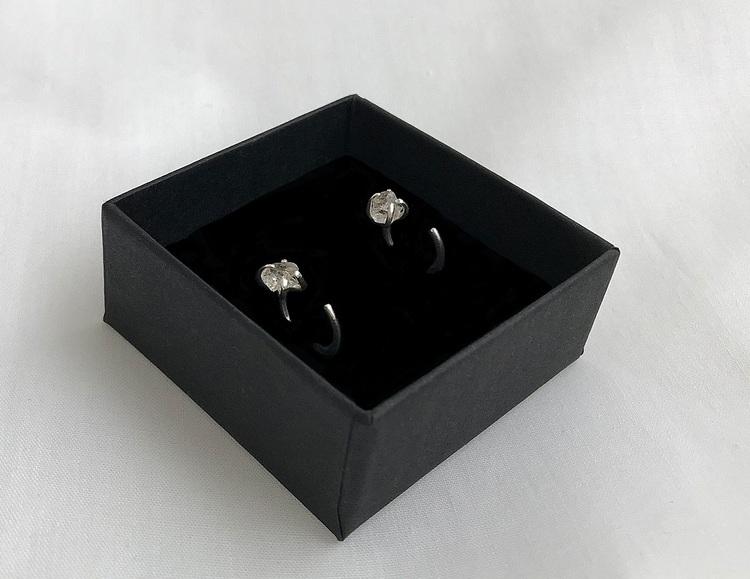 Rå rutilerad kvarts kristall örhängen äkta silver